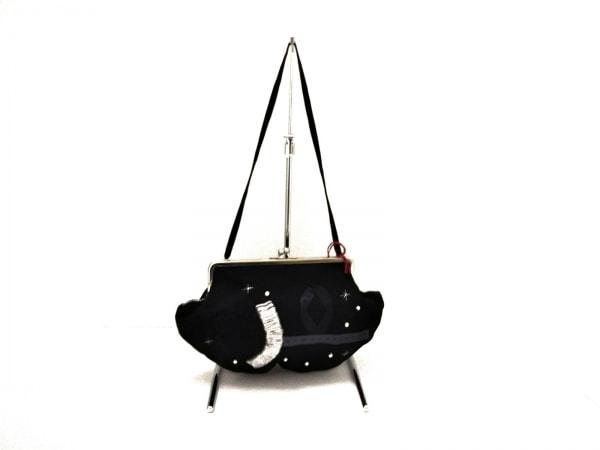 アトリエドゥサボン バッグ新品同様  黒×ライトグレー フェイクパール/がま口