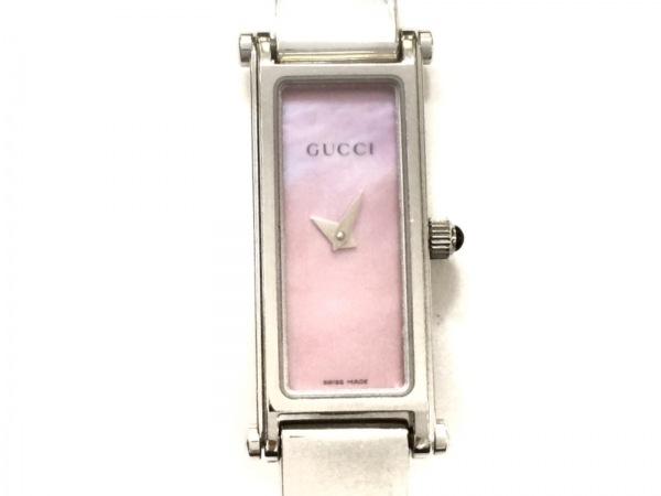 GUCCI(グッチ) 腕時計美品  1500L レディース シェル文字盤 シェルピンク