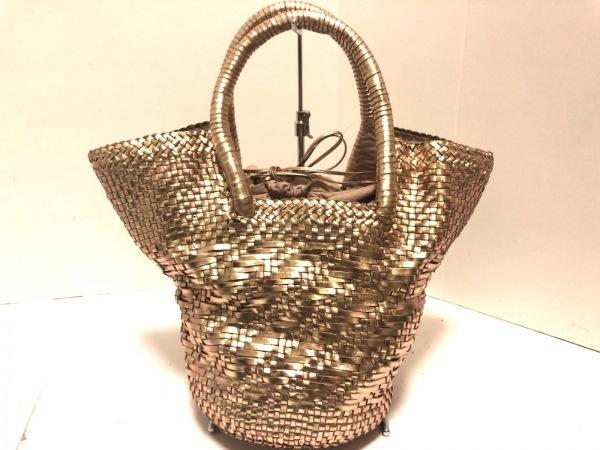 PAOLO MASI(パオロマージ) ハンドバッグ美品  ゴールド 編み込み レザー