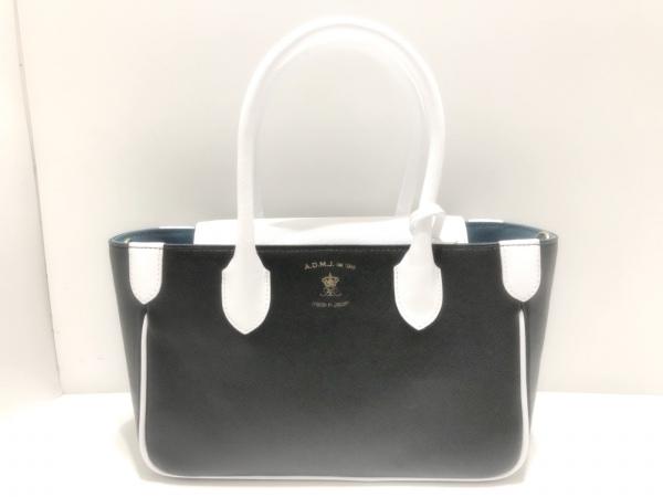 アクセソワ・ドゥ・マドモワゼル ハンドバッグ美品  黒×白×ライトブルー レザー