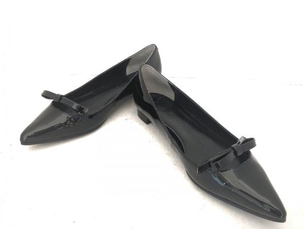 ツルバイマリコオイカワ フラットシューズ 37 レディース美品  黒 リボン