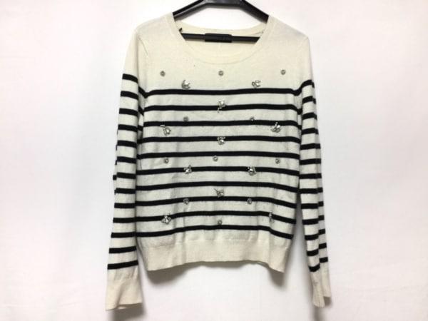 JUSGLITTY(ジャスグリッティー) 長袖セーター サイズ2 M レディース アイボリー×黒