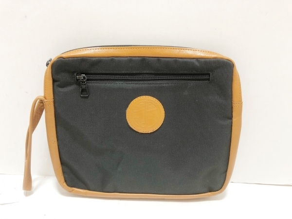 ダンヒル セカンドバッグ 黒×ライトブラウン ナイロン×レザー