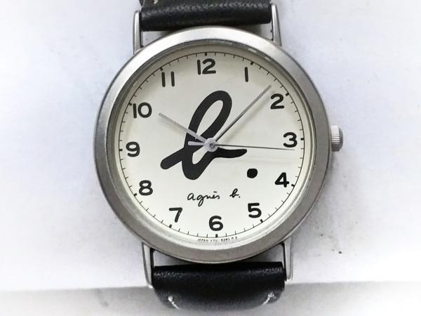 agnes b(アニエスベー) 腕時計 V701-6190 レディース 革ベルト アイボリー