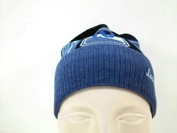 LOUIS VUITTON(ルイヴィトン) ニット帽新品同様  M70729 黒×ブルー×マルチ ウール