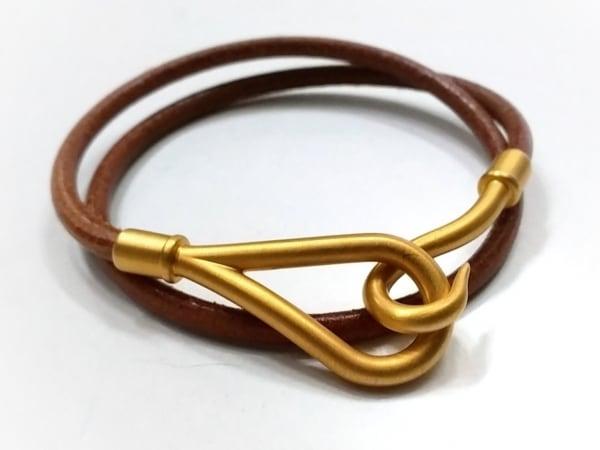 HERMES(エルメス) ブレスレット ジャンボ レザー×金属素材 ブラウン×ゴールド 2連