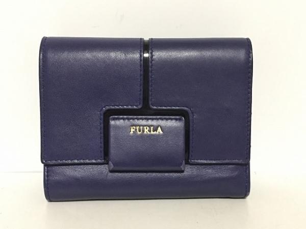 FURLA(フルラ) 3つ折り財布 ネイビー×黒 レザー×エナメル(レザー)