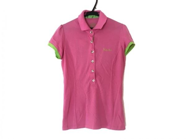 ラッセルノ 半袖ポロシャツ サイズM レディース ピンク×ライトグリーン×イエロー