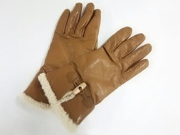 セルモネータグローブス 手袋 7 レディース美品  ライトブラウン×アイボリー レザー
