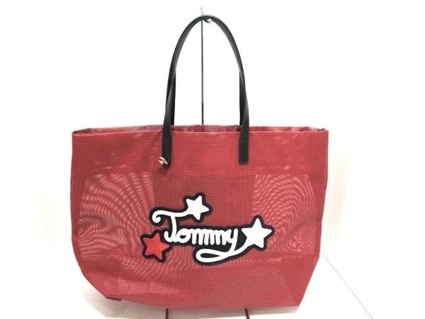 トミーヒルフィガー トートバッグ美品  レッド×黒 メッシュ 化学繊維×レザー