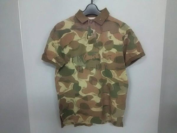 ポロラルフローレン 半袖ポロシャツ サイズS メンズ美品  カーキ×ダークブラウン