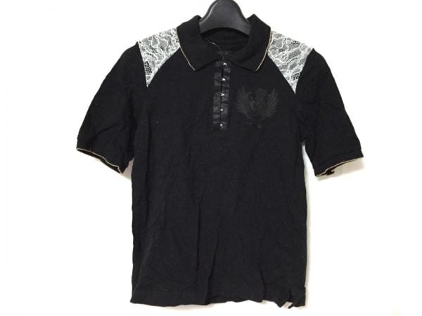 DRESS CAMP(ドレスキャンプ) 半袖ポロシャツ サイズ38 M レディース美品  黒×白