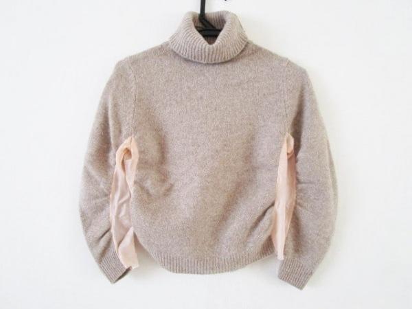Sacai(サカイ) 長袖セーター サイズ38 M レディース ブラウン×ピンク タートルネック