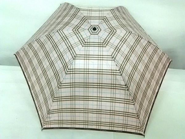 バーバリーロンドン 折りたたみ傘美品  ピンク×ブラウン×マルチ チェック柄