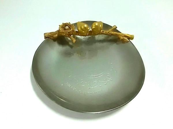 ミキモト 小物美品  シルバー×ゴールド×白 ジュエリートレイ/鳥 金属素材×パール
