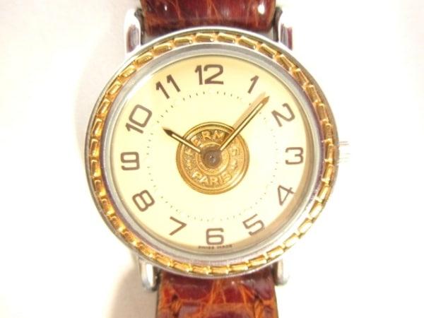 HERMES(エルメス) 腕時計美品  セリエ - レディース 革ベルト アイボリー×ゴールド