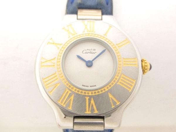 カルティエ 腕時計美品  マスト21SM W10073R6 レディース オーストリッチベルト 白