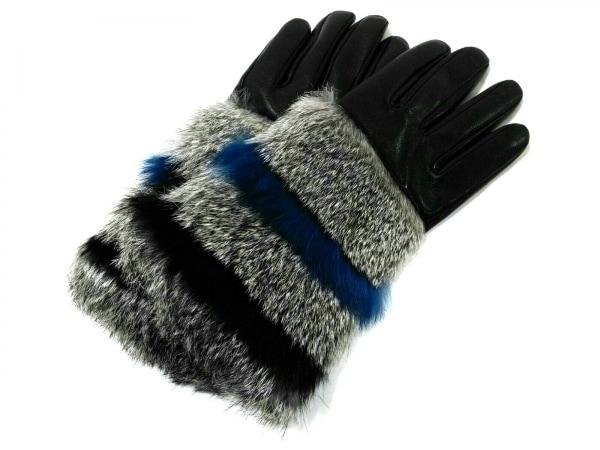 FURLA(フルラ) 手袋 レディース美品  黒×グレー×ブルー レザー×ファー