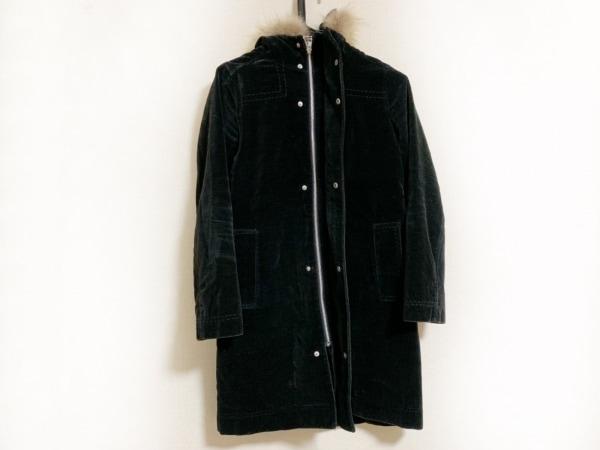 スーパーハッカ コート レディース美品  黒×ライトブラウン ジップアップ/ファー