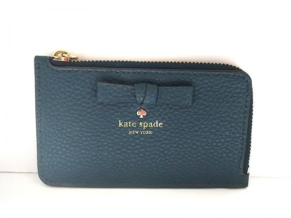 Kate spade(ケイトスペード) カードケース美品  グリーン リボン/キーリング付き 合皮