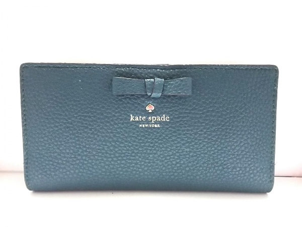 Kate spade(ケイトスペード) 2つ折り財布美品  グリーン 型押し加工/リボン レザー