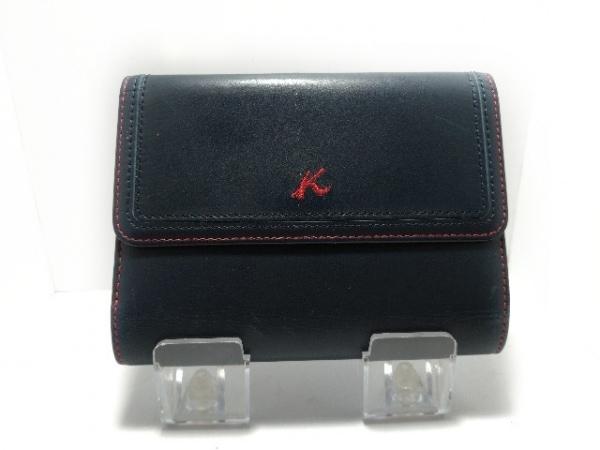 KITAMURA(キタムラ) 3つ折り財布 ダークグリーン×レッド レザー