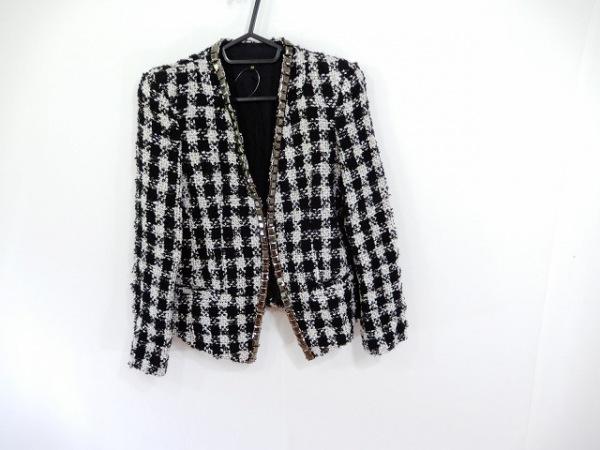 フラミューム ジャケット サイズ38 M レディース 黒×白×シルバー 千鳥格子/ラメ
