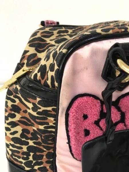 Betseyville(ベッツィーヴィル) ハンドバッグ ピンク×アイボリー×黒 豹柄