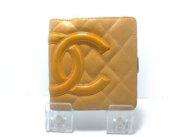41f76940c3dc CHANEL(シャネル) 2つ折り財布 カンボンライン ベージュ×オレンジ がま口 ...