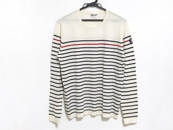 シナコバ 長袖セーター サイズ11 M レディース アイボリー×ネイビー×レッド