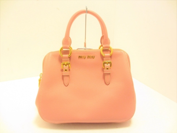 miumiu(ミュウミュウ) ハンドバッグ美品  マドラス RL0058 ピンク レザー