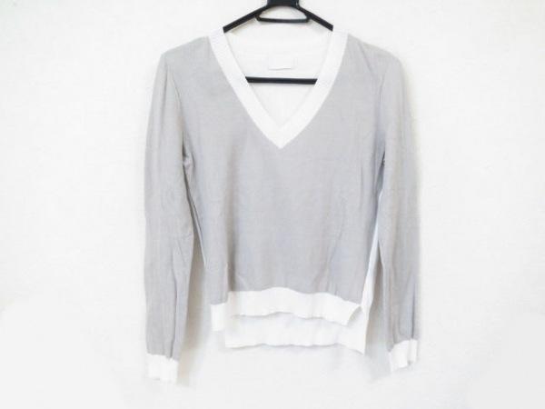 HYALINES(ハイアリン) 長袖セーター サイズ40 M レディース美品  グレー×白