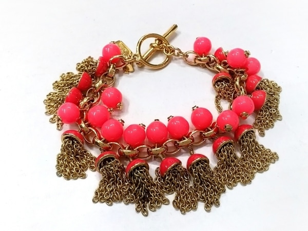 ケイトスペード ブレスレット美品  金属素材×プラスチック ゴールド×ピンク