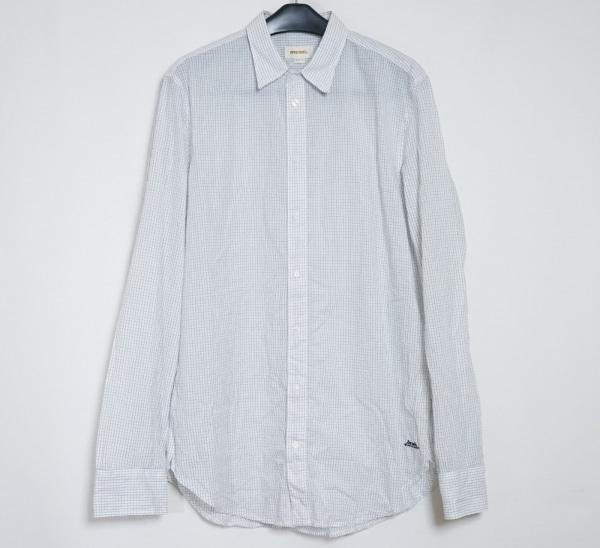 DIESEL(ディーゼル) 長袖シャツ サイズXL メンズ 白×ダークグレー チェック柄