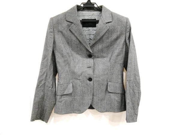 エルマノシェルビーノ ジャケット サイズ42 L レディース美品  黒×白 肩パッド