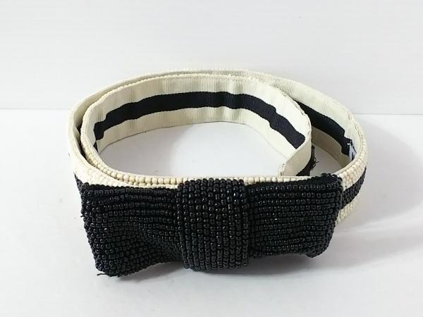 モスキーノ チープ&シック ベルト 黒×アイボリー リボン ビーズ×化学繊維