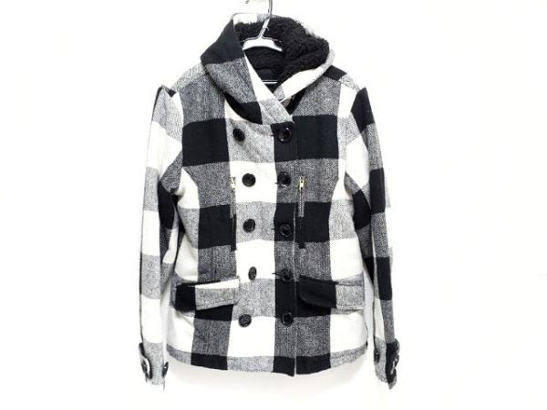JOYRICH(ジョイリッチ) コート サイズM レディース 黒×白 チェック柄/冬物