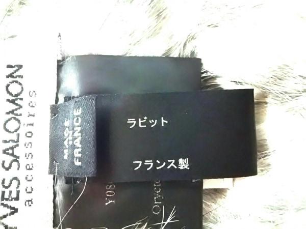 yves salomon(イヴサロモン) マフラー 白×黒 スヌード ラビット
