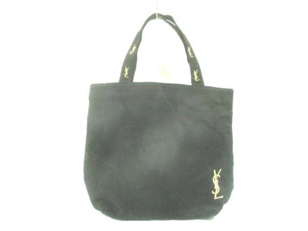 イヴサンローランパフューム トートバッグ 黒×ゴールド 刺繍 キャンバス