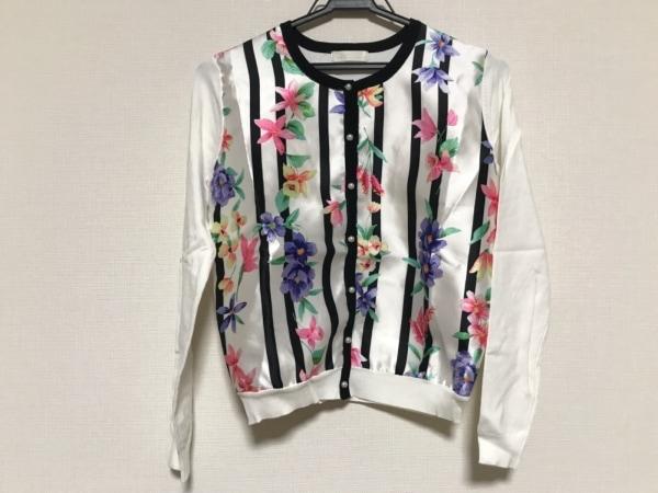 チェリーアン カーディガン サイズF レディース美品  白×黒×マルチ ストライプ/花柄