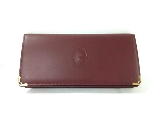 Cartier(カルティエ) 長財布 マストライン ボルドー×ゴールド レザー