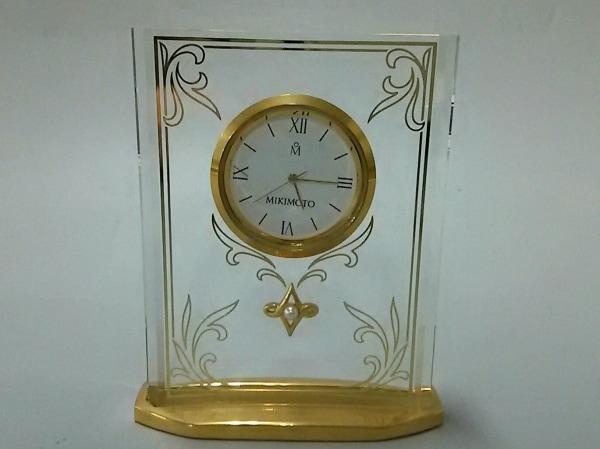 ミキモト 小物美品  クリア×ゴールド×白 置時計(動作確認できず) ガラス×金属素材