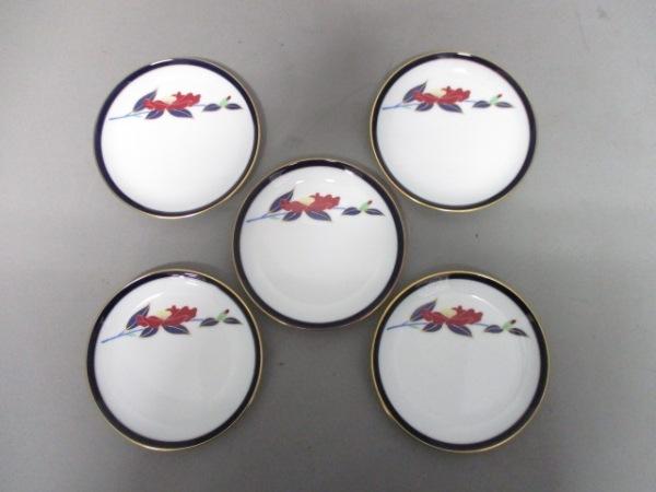 コウランシャ プレート新品同様  白×ダークネイビー×マルチ 小皿×5/花柄 陶器