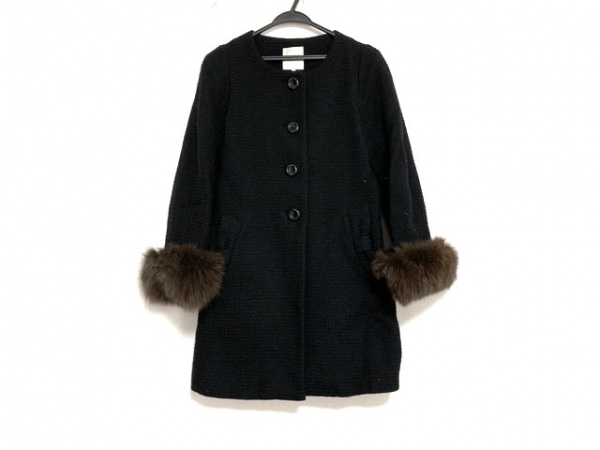 ボンメルスリー コート サイズ38 M レディース美品  黒 冬物/ノーカラー