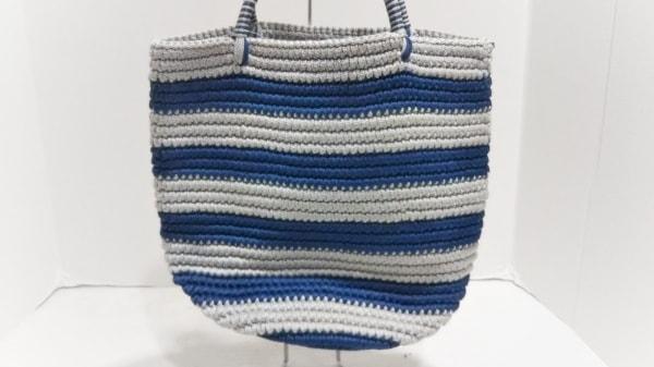 SENSISTUDIO(センシスタジオ) トートバッグ美品  グレー×ネイビー ボーダー 化学繊維