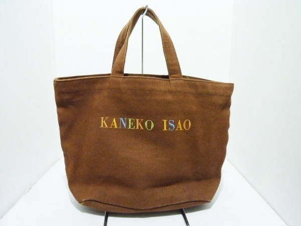 KANEKO ISAO(カネコイサオ) トートバッグ ダークブラウン×マルチ 刺繍 キャンバス