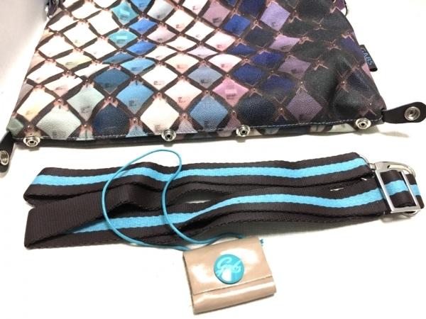 ガブス ハンドバッグ ダークブラウン×パープル×マルチ PVC(塩化ビニール)×レザー