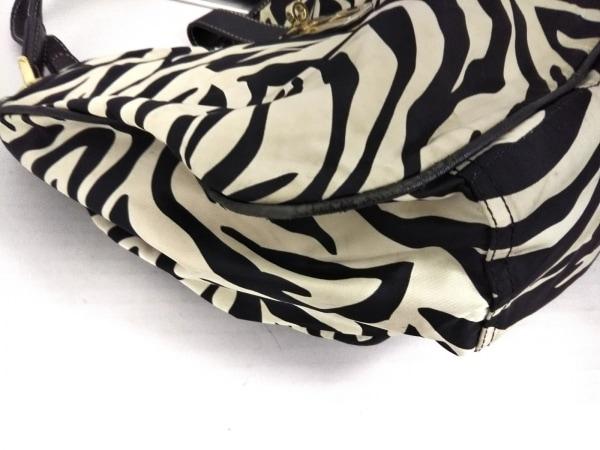LA BAGAGERIE(ラバガジェリー) トートバッグ 黒×白 ゼブラ柄 ナイロン×レザー