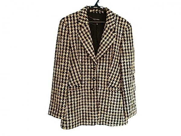 エスカーダ ジャケット サイズ40 XL レディース美品  黒×イエロー×白 チェック柄