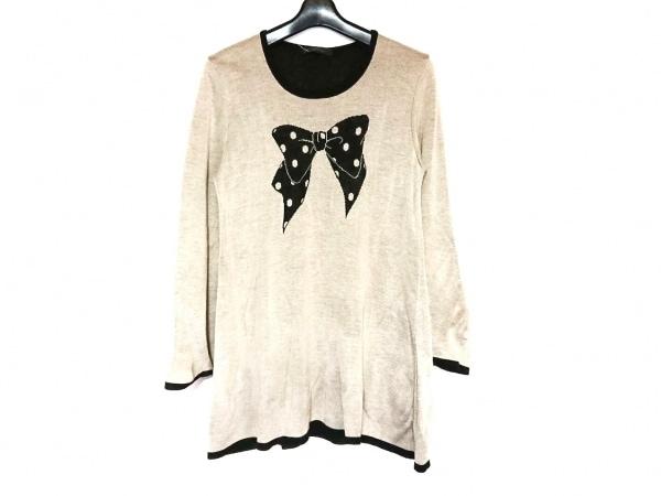 INGEBORG(インゲボルグ) 長袖セーター サイズ9 M レディース美品  グレージュ×黒